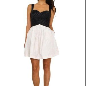 BCBGMaxAzria Satin Contrast Taffeta Dress - 8